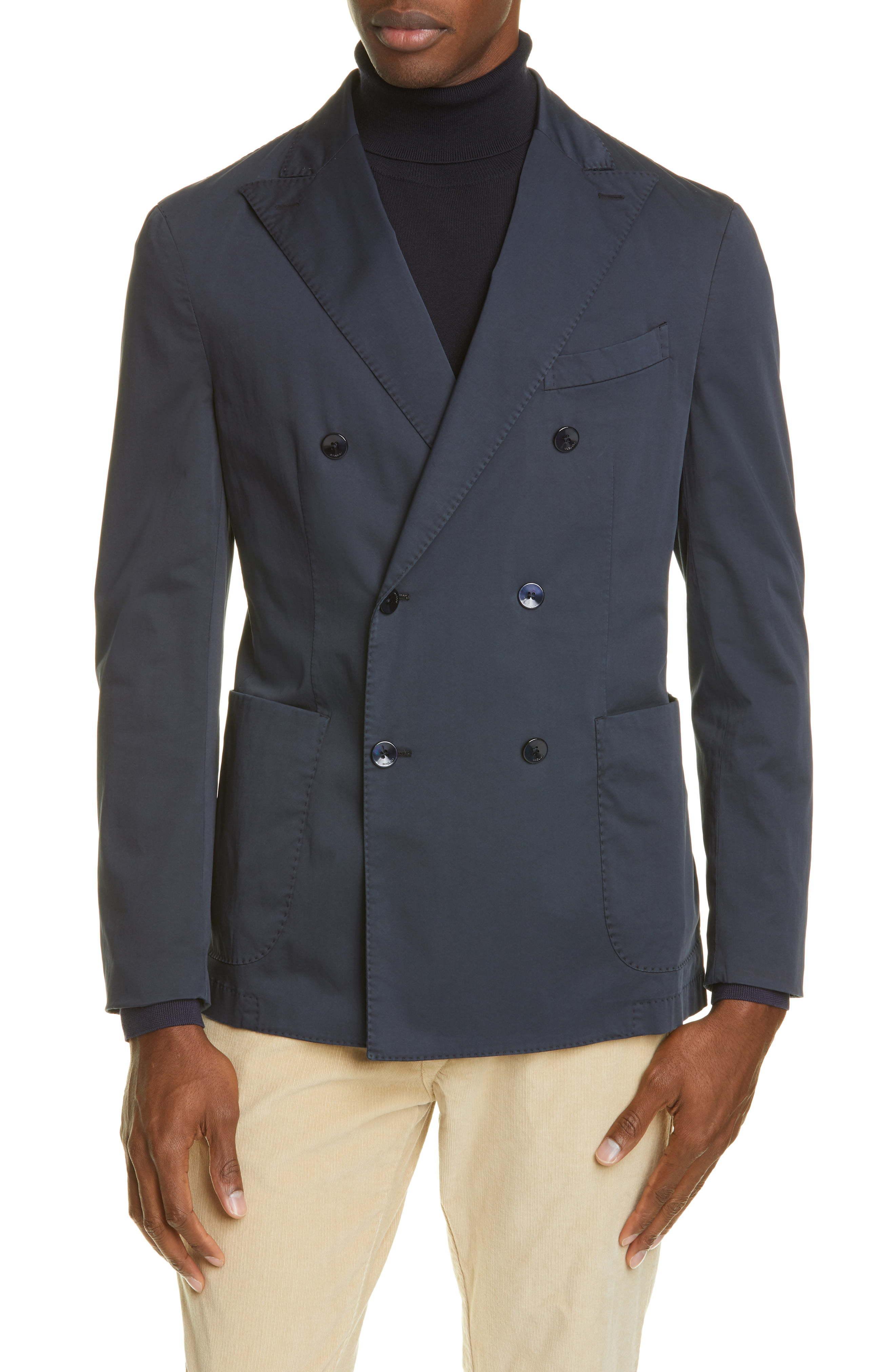 Boglioli Trim Fit Double Breasted Solid Stretch Cotton Sport Coat