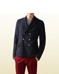 Gucci Water Repellent Wool Double Breasted Jacket