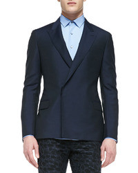 Lanvin Woolmohair Double Breasted Jacket Navy