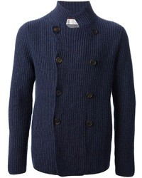 Navy Double Breasted Cardigan