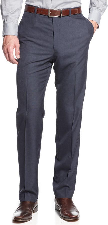 Calvin Klein Slim Fit Blue Sharkskin Dress Pants | Where to buy ...