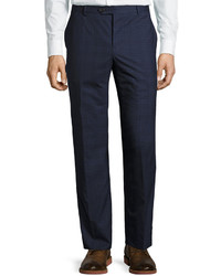 Brunello Cucinelli Madras Wool Blend Trousers Blue