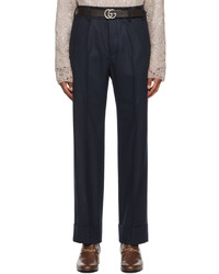 Gucci Navy Flannel Trousers