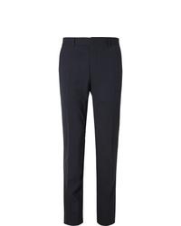 Fendi Navy Logo Jacquard Trimmed Stretch Virgin Wool Suit Trousers