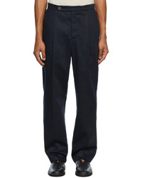 King & Tuckfield Navy Pleat Trousers