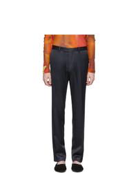 Dries Van Noten Navy Satin Trousers