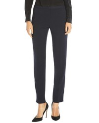 Tahari Navy Stretch Twill Jillian Slim Fluid Pants