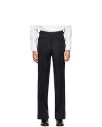 Husbands Navy Wide Leg Tapered Trousers