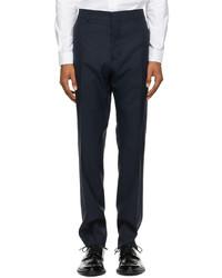 AMI Alexandre Mattiussi Navy Wool Cigarette Trousers