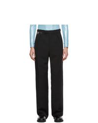 Raf Simons Navy Wool Wide Leg Trousers