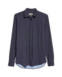 Canali Black Edition Solid Navy Stretch Dress Shirt