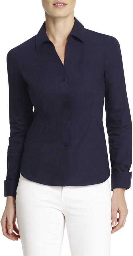 Navy Dress Shirt Jones New York Non Iron Easy Care Fitted