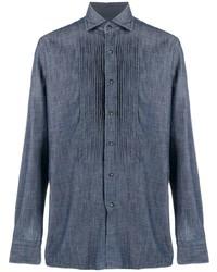Tagliatore Pleated Bib Cotton Shirt