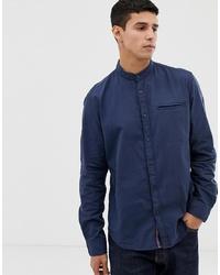 Esprit Slim Fit Oxford Shirt With Mandarin Collar In Navy