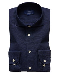 Eton Soft Casual Line Slim Fit Solid Cotton Silk Shirt