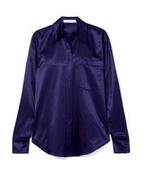 See by Chloe Stretch Cotton Blend Satin Piqu Shirt