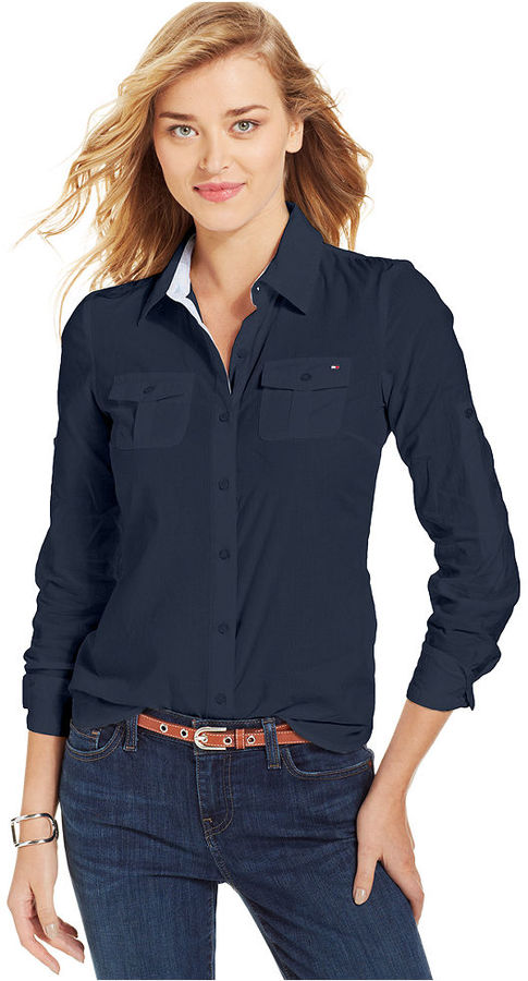 Tommy Hilfiger Long Sleeve Contrast Trim Button Down Shirt | Where ...