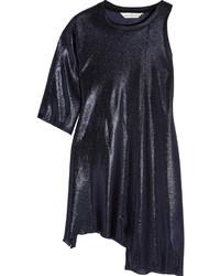 Golden Goose Deluxe Brand Alexis One Shoulder Lam Mini Dress Navy