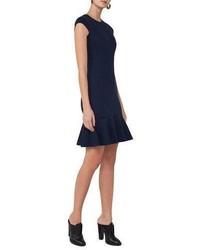 Akris Punto Cap Sleeve Jersey Flounce Dress Navy