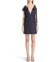 Chloé Chloe Shoulder Tie Textured Crepe Dress