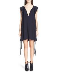 Chloé Chloe Side Tie Flutter Detail Cady Dress
