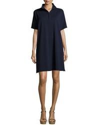 Joan Vass Short Sleeve Piqu Dress Plus Size