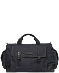 DSQUARED2 Washed Cotton Denim Duffle Bag