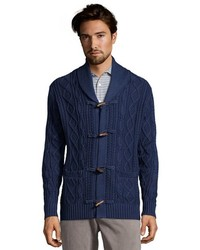 Blue cotton cable knit toggle front shawl collar cardigan medium 160069