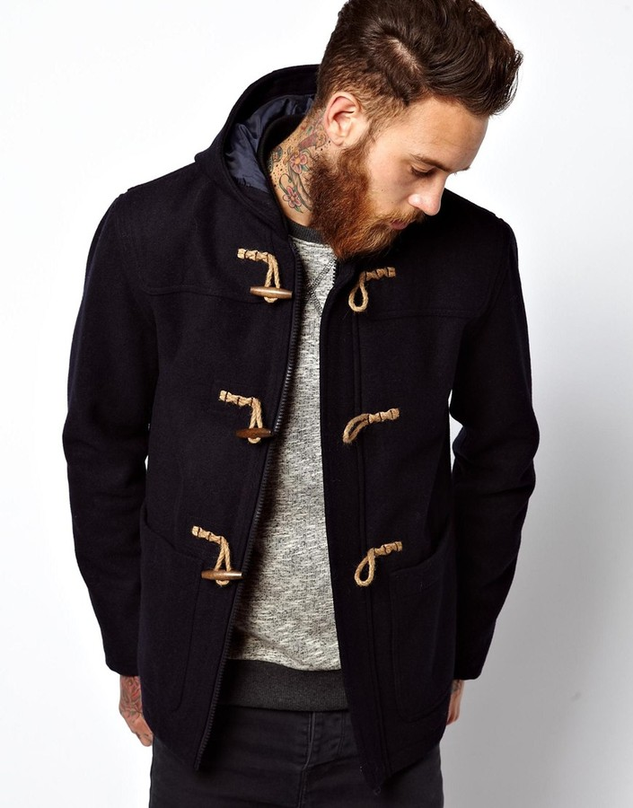asos duffle coat in navy where to buy how to wear. Black Bedroom Furniture Sets. Home Design Ideas