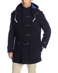 Cole Haan Boiled Wool Toggle Duffle Coat With Removable Hood And Rib Knit Interior Collar