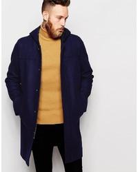 Asos Brand Hooded Duffle Coat In Navy