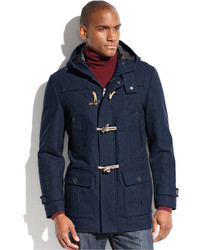 Nautica Coat Hooded Wool Blend Water And Wind Resistant Toggle Coat