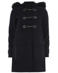 Dorothy Perkins Navy Plush Faux Fur Duffle Coat