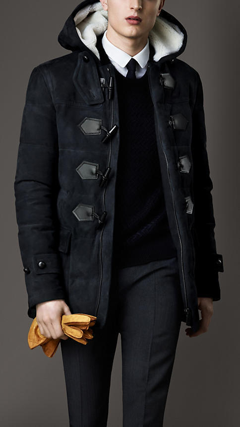 Burberry Down Filled Suede Duffle Coat