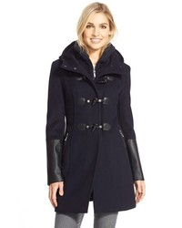 Faux leather trim wool blend duffle coat with inset bib medium 370224