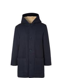 YMC Fleece Lined Virgin Wool Blend Hooded Coat