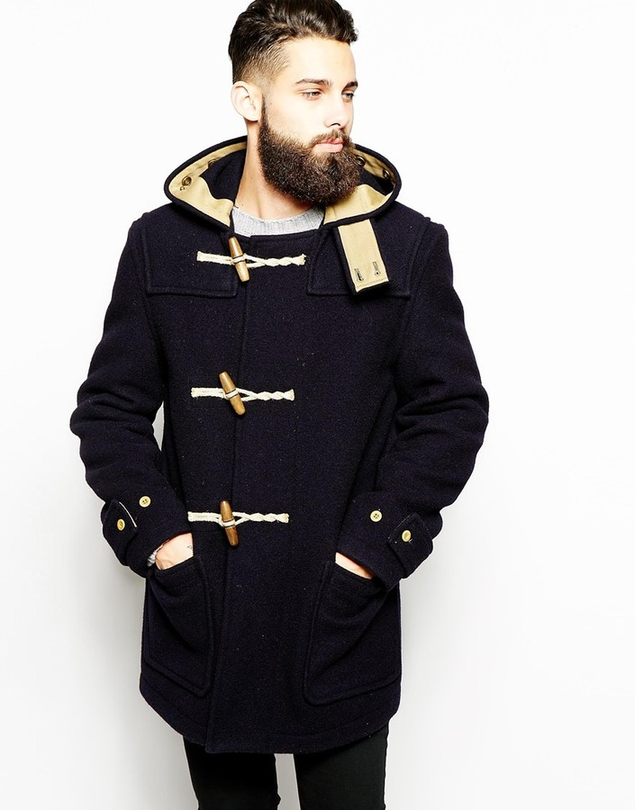 Hooded Wool Duffle Coat Mens | Down Coat