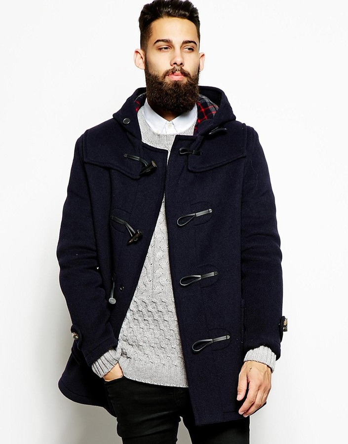 Gloverall Duffle Coat With Check Hood | Where to buy &amp how to wear
