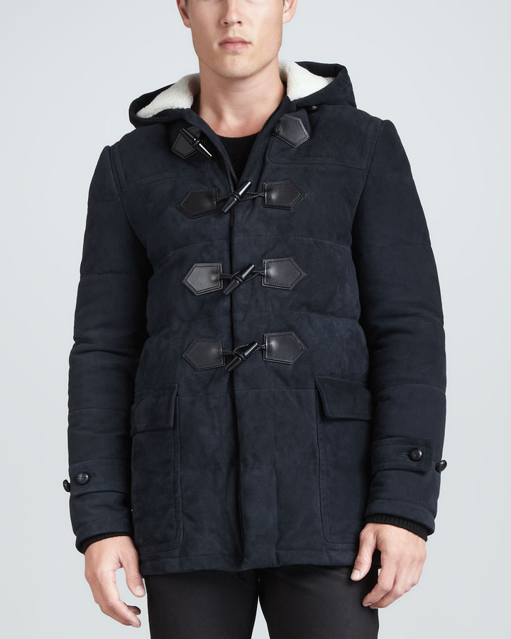 Burberry London Suede Down Filled Duffle Coat Navy