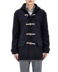 Tomas Maier Toggle Front Melton Hooded Coat Blue