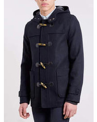 Topman Navy Wool Blend Duffle Coat