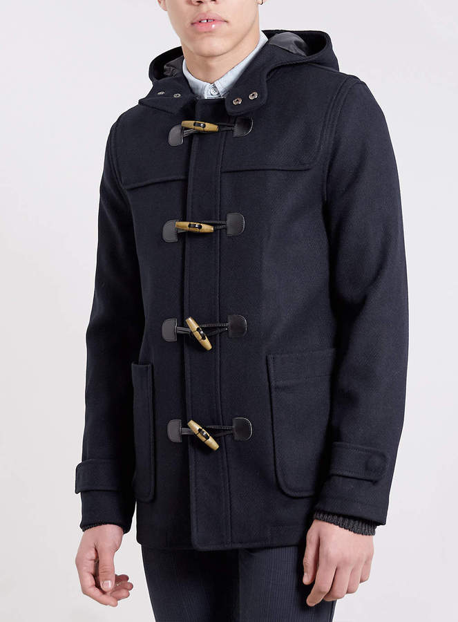 Topman Navy Wool Blend Duffle Coat | Where to buy & how to wear