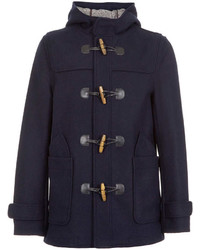 Topman Navy Wool Duffle Coat