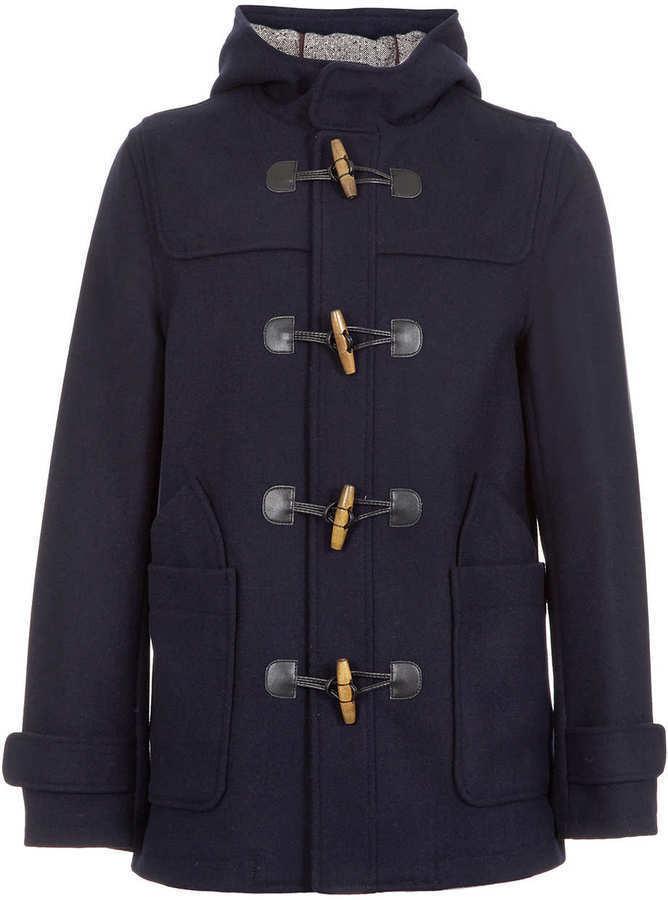 Topman Navy Wool Duffle Coat