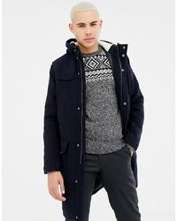 KIOMI Wool Coat In Navy With Borg Lined Hood