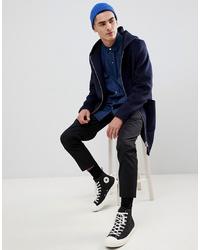ASOS DESIGN Wool Mix Hooded Overcoat In Navy
