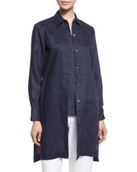 Go Silk Long Sleeve Linen Duster Coat Plus Size