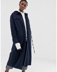 Weekday Pocket Detail Long Coat In Navy