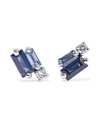 Suzanne Kalan 18 Karat White Gold Sapphire And Diamond Earrings