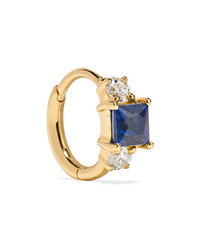 Maria Tash 65mm 18 Karat Gold Sapphire And Diamond Hoop Earring